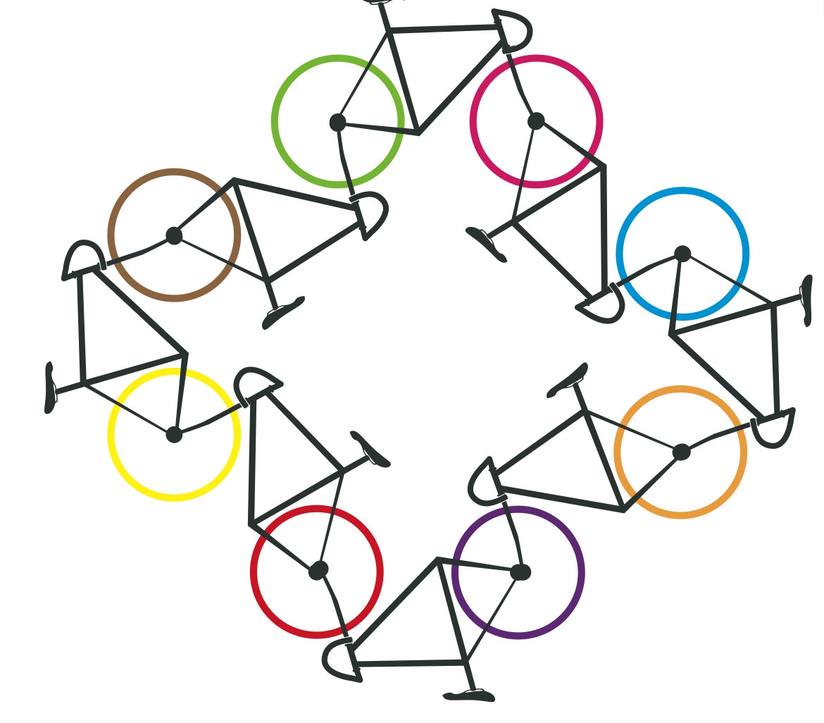 Cartoon bikes joint in a circle