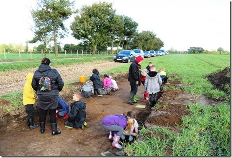 Lots of people join the archaeological dig