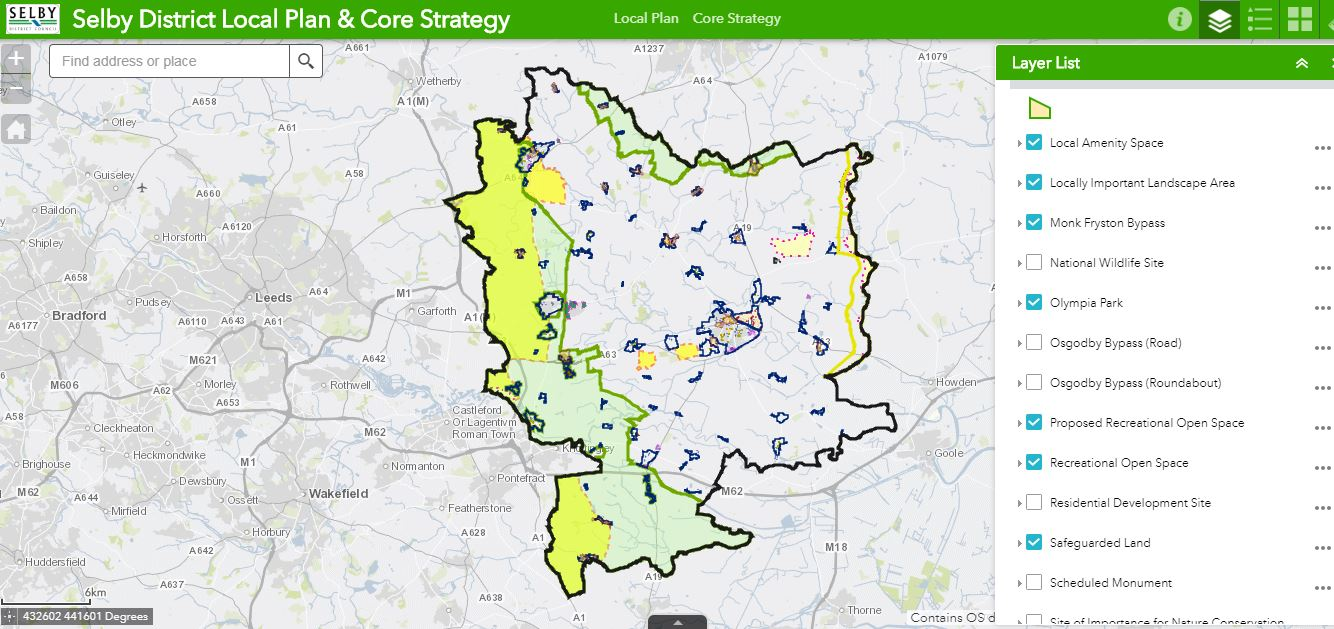 Screen shot of the Interactive Planning Policy map