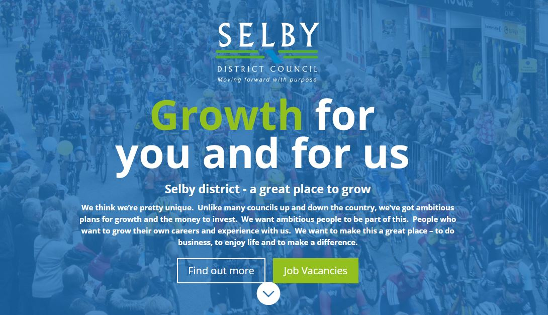 Image of a screen shot of Selby District Council's jobs website