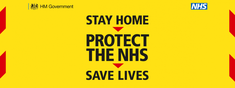 Stay at home, safe lives and protect the NHS website banner
