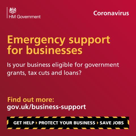 Coronavirus emergency support for businesses banner