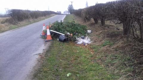Image of green waste fly-tipped in the Selby District