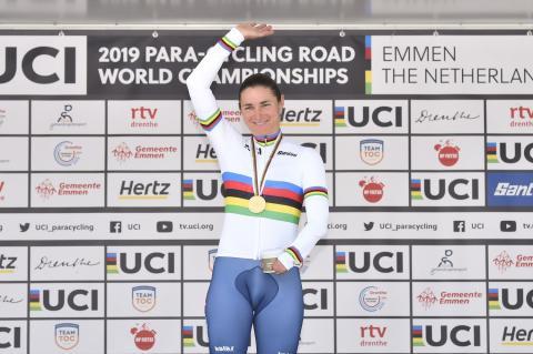 Dame Sarah Storey at the UCI Para-cycling Road Championships podium