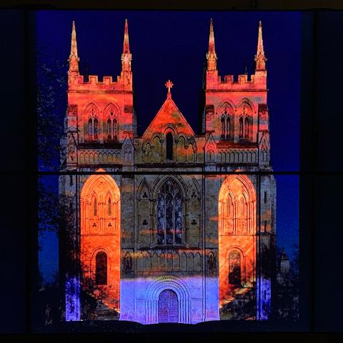 Selby Abbey illuminated
