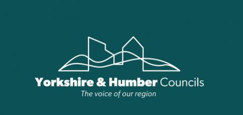 Yorkshire and umber Councils the voice of our region. Green background with white writing.