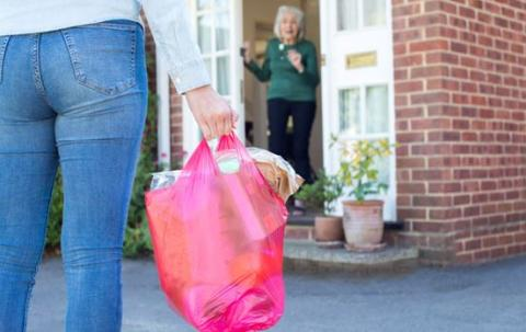Image of someone delivering a persons shopping