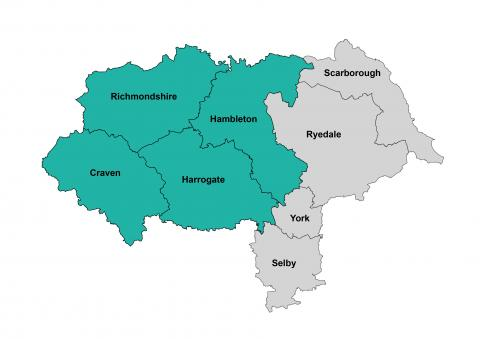 Map of North Yorkshire with a East and West divide