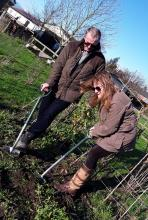 Mr and Mrs Bucktrout gardening