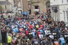 Competitive cyclists racing in Tadcaster