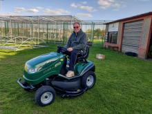 Image of the grass cutter at Thorpe Willoughby Cricket Club