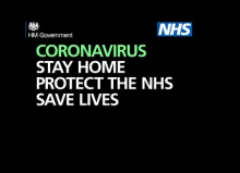 Coronavirus Stay at Home, Protect the NHS and Save Lives message banner