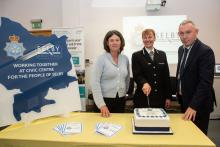 Chief Constable Lisa Winward, Police, Fire and Crime Commissioner Julia Mulligan and Councillor Mark Crane