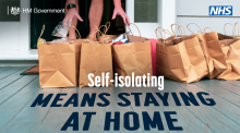 NHS Self isolation means staying at home image