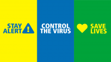 Government coronavirus key messages banner - stay alert, control the virus and save lives